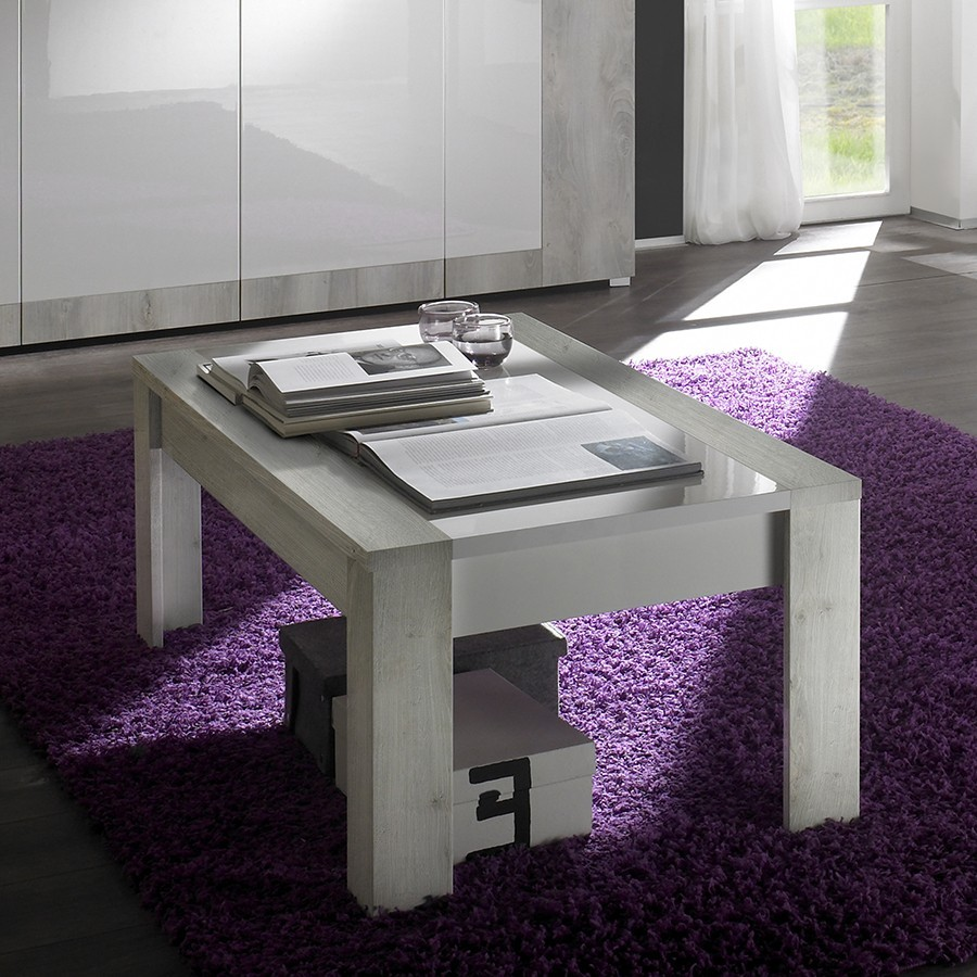 Table basse contemporaine MARJOLENE, coloris Pin blanc & Blanc laqué