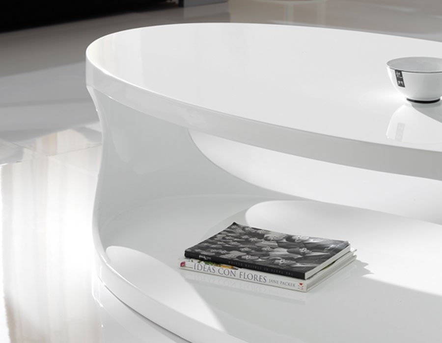 Table Basse Design Ovale Blanc Laque Design Egg Hcommehome