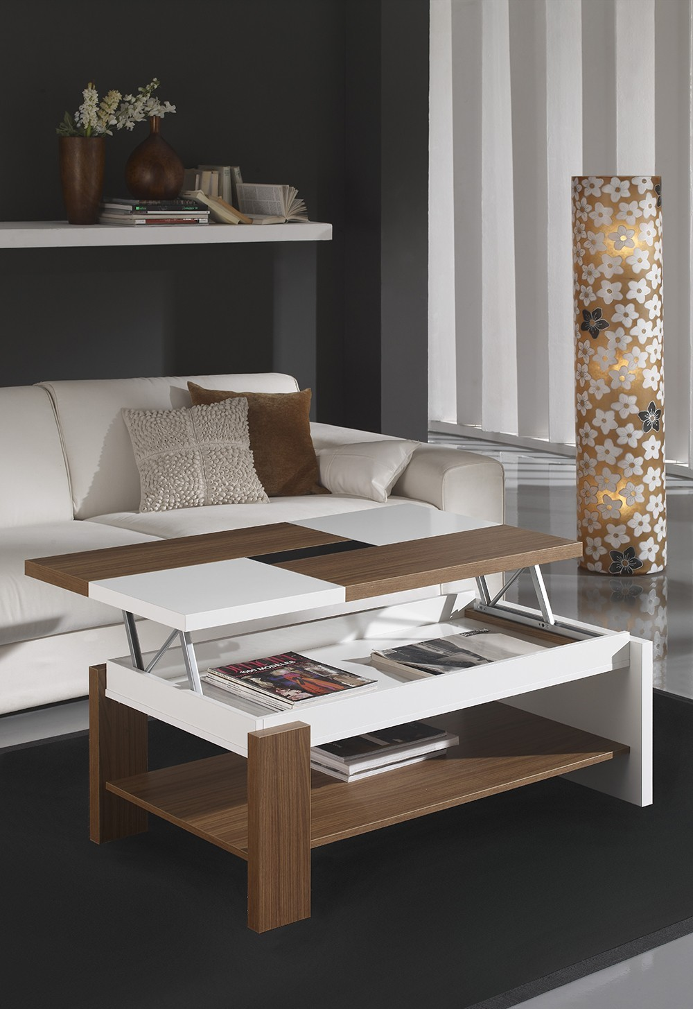 Table basse relevable contemporaine FABIO, coloris Noyer & Blanc