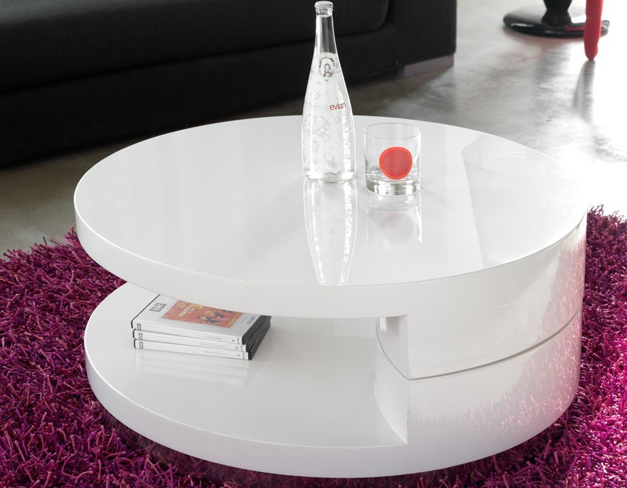 Table basse ronde laqu blanc table for Table basse ronde laquee