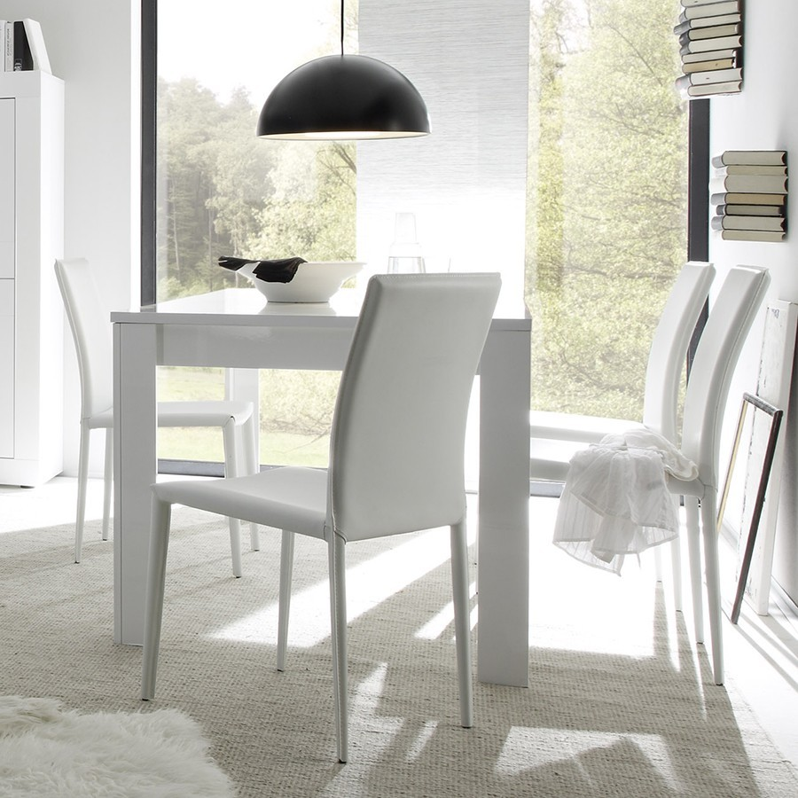 table de salle manger rectangulaire design focus laque blanc brillant - Table De Salle A Manger Extensible