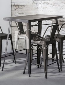 table haute industrielle en acier bistrot. Black Bedroom Furniture Sets. Home Design Ideas