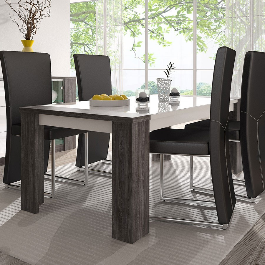 emejing table a manger blanche et grise pictures amazing house design. Black Bedroom Furniture Sets. Home Design Ideas