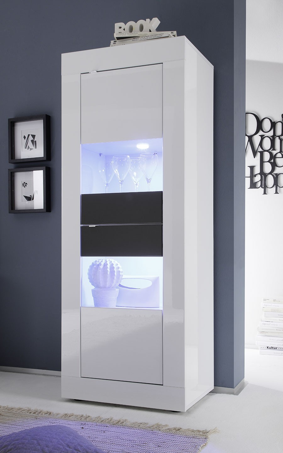 Vitrine Design Laqu Blanc Et Anthracite Avec Led # Armoire Bar Blanc Laque Led